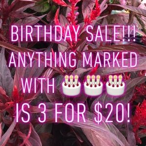 🎂BIRTHDAY SALE!! 3 for $20🎂